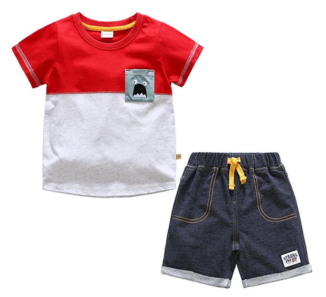 Little Boys' Summer Cotton Short Sleeve Cartoon Print Clothing Sets Print#2 90