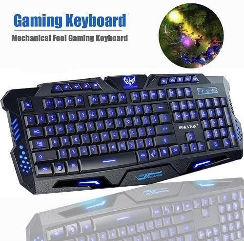 Teclado Gaming sokaton USB con cable mecánico teclado retroiluminado 3 ajuste de color LED iluminado teclado para juegos