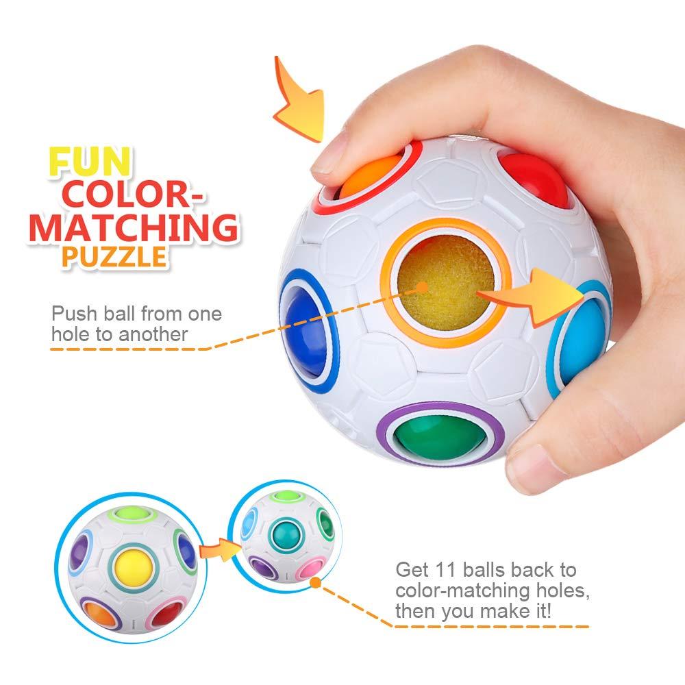 D-FantiX Rainbow Puzzle Ball 4 Pack, Magic Rainbow Ball Puzzle Cube Fidget Balls Puzzle Brain Games Fidget Toys for Adult Kids White by D-FantiX (Image #2)
