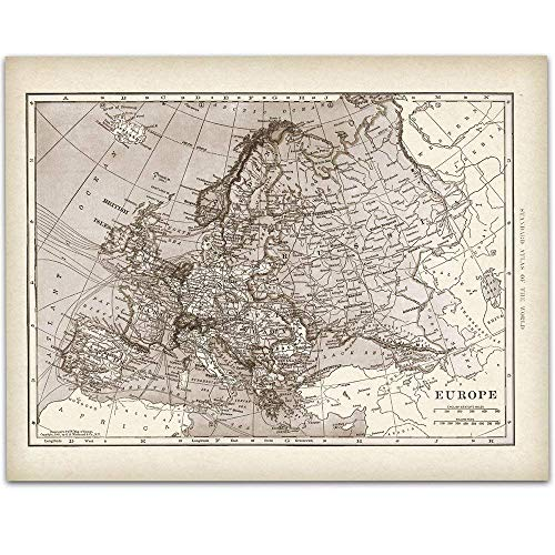 1901 Map of Europe - 11x14 Unframed Art Print - Great Vintage Home Decor Under $15