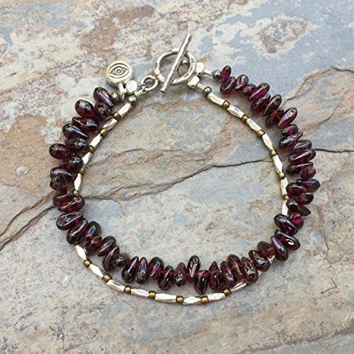 Double Stranded Garnet and Hill Tribe Sterling Silver Bracelet, Garnet Bracelet, 7.5 inches -