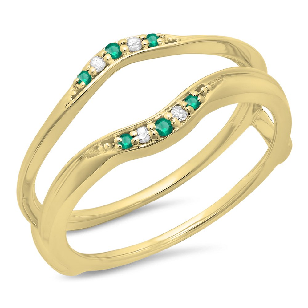 Dazzlingrock Collection 14K Round Emerald & White Diamond Ladies Anniversary Band Guard Double Ring, Yellow Gold, Size 6 by Dazzlingrock Collection