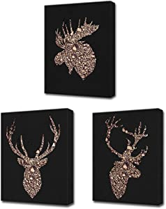 LoveHouse 3 Piece Deer Canvas Wall Art Deer Head Silhouette with Brown Stone on Black Background Abstract Animal Print Gallery Wrap Modern Home Office Decor Ready to Hang 12x16inchx 3 Panels