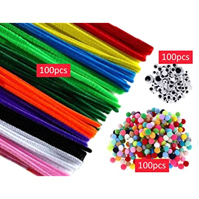 100pcs Mixed Colors Pipe Cleaners Chenille Stems, Pom Poms, Wiggle Eyes for DIY Art Craft Decorations (Multicolor): Arts, Crafts & Sewing