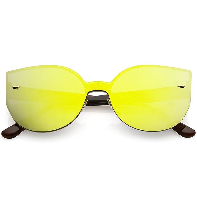 c39c0a28e9f sunglassLA - Oversize Rimless Mono Block Cat Eye Sunglasses Color Mirror Flat  Lens 64mm (Brown