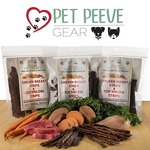 Best Dog Treats, All NATURAL Dog Jerky Treats Made in USA ONLY, 2 Premium Flavors in 1 bag, Chicken & Beef Strips, Healthy Teeth, Grain & Gluten Free, Great Diabetic Treat, Training, Dental Chews by Pet Peeve Gear (Image #3)