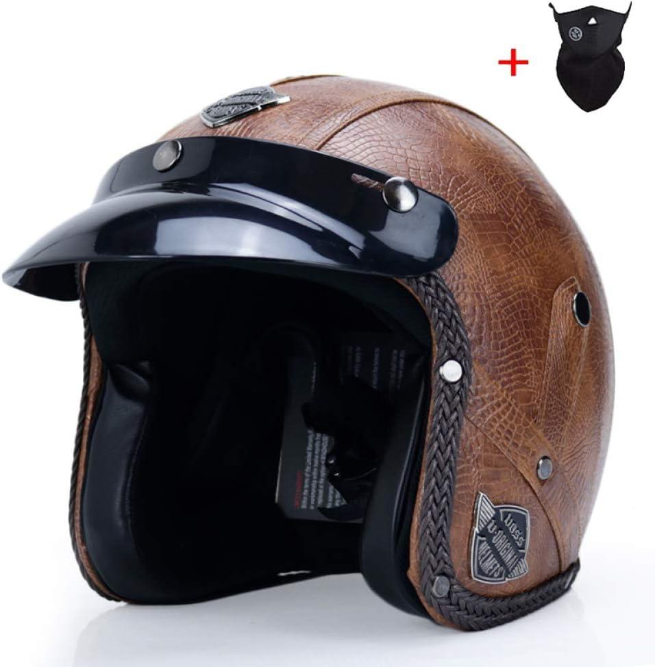 OLEEKA Retro Vintage deutschen Stil Motorrad Helm 3//87 Jethelm Roller Chopper Cruiser Biker Moto Helm Brille Maske