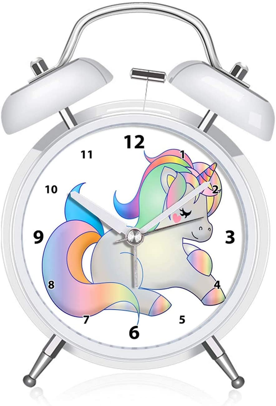 Desk Shelf Clocks Qcnz1 Unicorn Alarm Clock For Girls For Kids And Teen Loud Bell And Button Night Light For Bedrooms Decor 031 Cute Pretty Unicorn With Light Green Mane Dial Pink