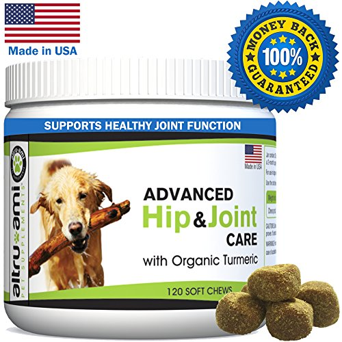 MSM Glucosamine for Dogs, Advanced Hip and Joint Supplement, Organic Turmeric, Chondoritin - Dog Arthritis, Hip Dysplasia Pain Relief and Joint Health -USA Made by Altru-Ami - 120 Soft Chewable Treats