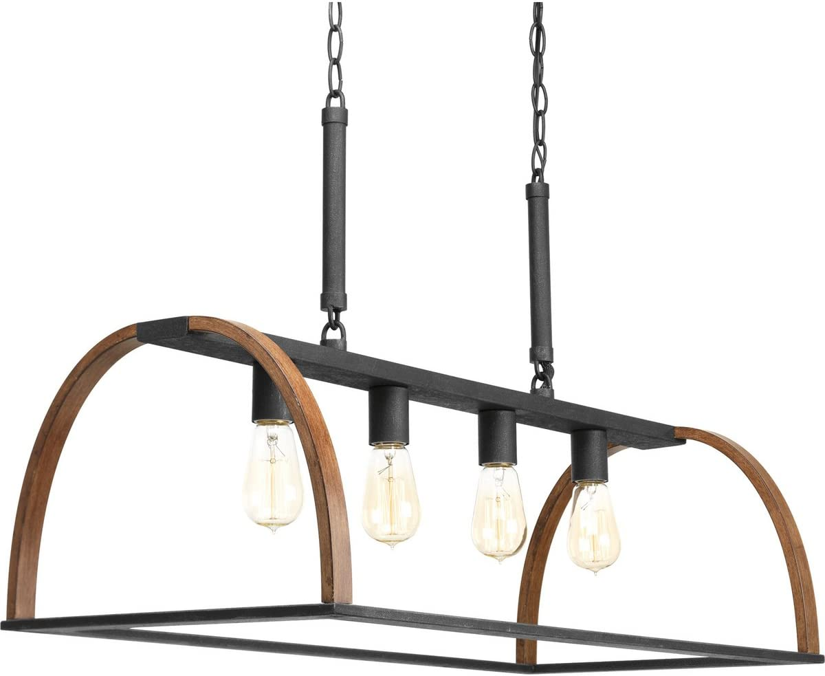 Progress Lighting P4720-71 Transitional Four Light Island Pendant from Trestle Collection in Two-Tone Finish, 32.50 inches, Gilded Iron