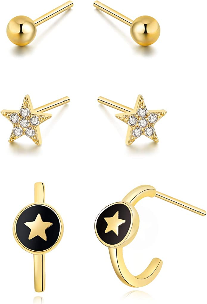 Details about  /Mini Star Drop Huggie Earring 925 Solid Sterling Silver Clear Zirconia Gemstone