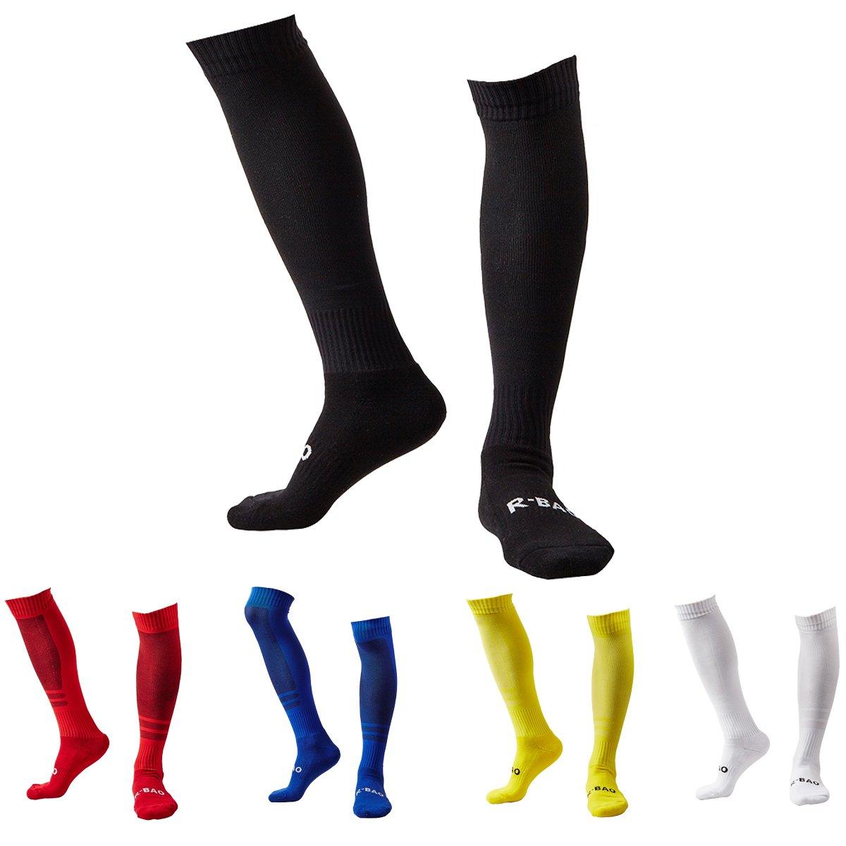 Soccer Socks for Men Women 5 Bulk Adult Knee High Compression Team Socks(Black + Red + Royalblue + Yellow + White) by Guumor