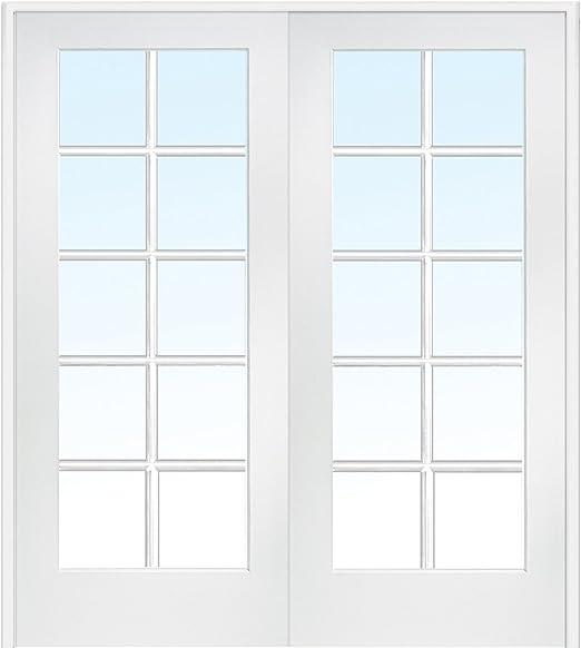 National Door Company Z019952ba Primed Mdf 10 Lite Clear Glass Prehung Interior Double Door 48 X 80