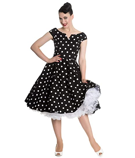6ccde4d45608 Hell Bunny 50s Nicky Vintage Style Polka Dot Rockabilly Dress:  Amazon.co.uk: Clothing