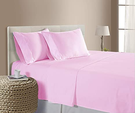 Queen Baby Pink Solid 4 Pc Bed Sheet Set 1000 Thread Count 100/% Egyptian Cotton