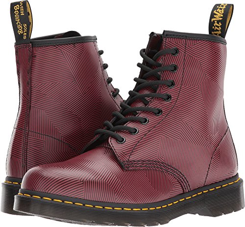 Dr. Martens Men's 1460 Geo Stripe 8-Eye Boots, Burgundy, 12 M UK, 13 M US (Side Boots Mens Stripe)