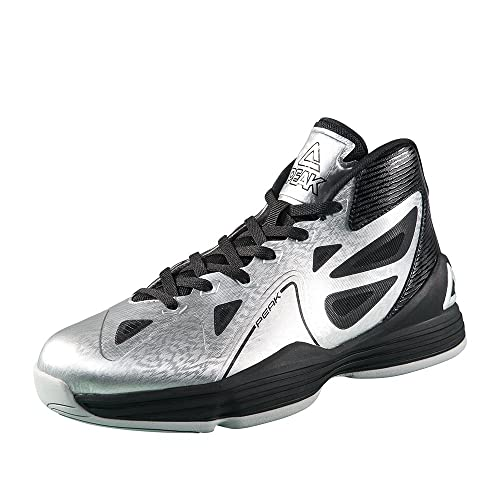 pretty nice 873db 2ad80 PEAK Men s Galaxy Basketball Shoes Silver Black Size US7