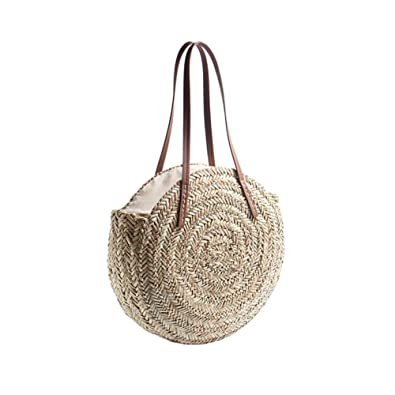 7877399c4434 GreSky Women Round Straw Beach Bag, Summer Handbags Single Shoulder Bag  Tote with Leather Handles And Zipper for Holiday Travel Beach Vacation ...