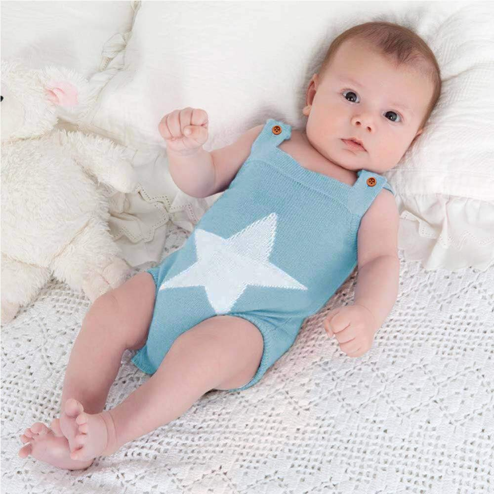 Clothing SaranTung Summer Sleeveless Bodysuits for Boys White Star Knit Newborn Baby Girls Coveralls Grey
