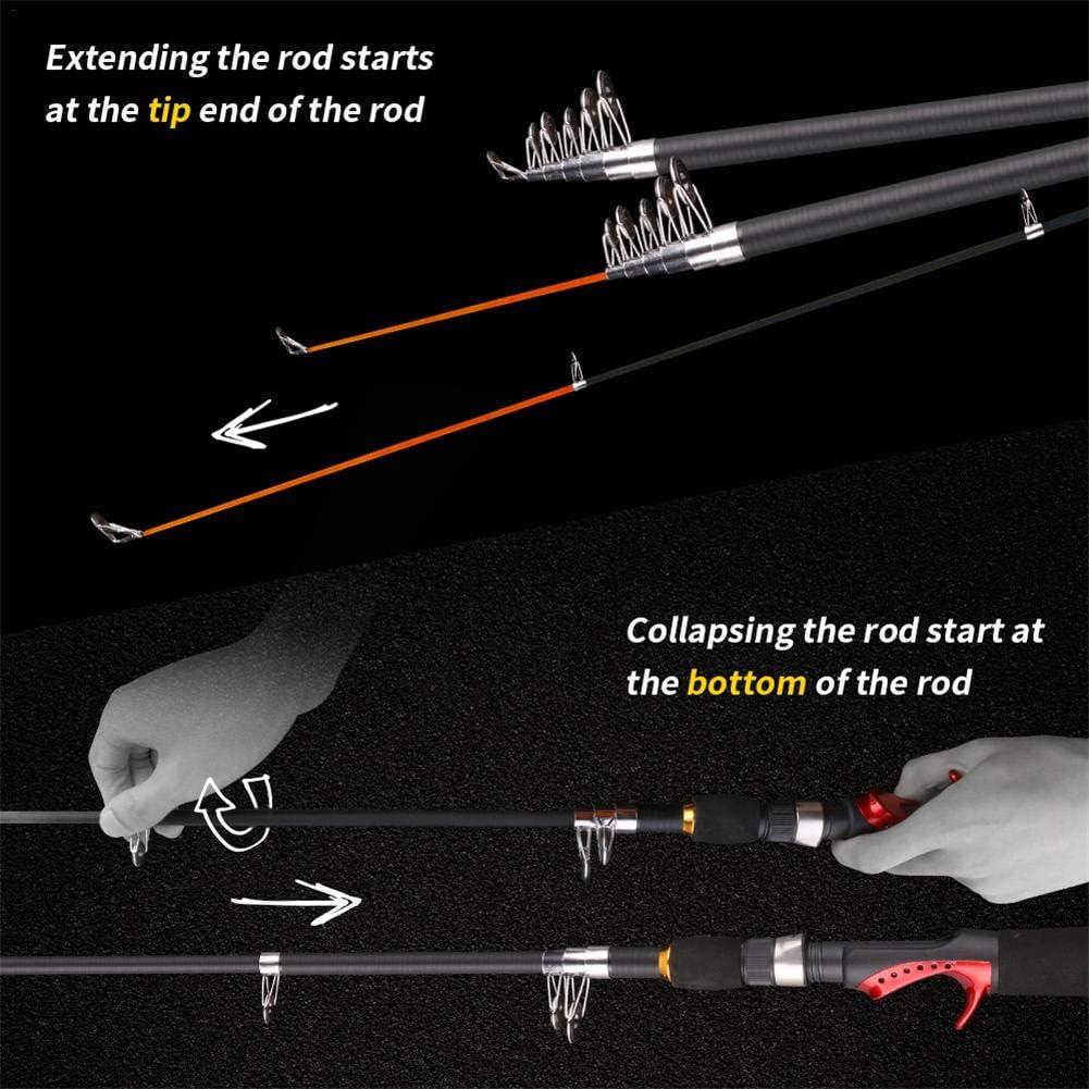 haodene Mini Faltbare Angelrute Tragbare Fishing Rod mit Teleskopstange 6 Abschnitten Spinnrute Fischen Pole Ergonomischer Griff Leichtgewichtler f/ür Salzwasser S/ü/ßwasser