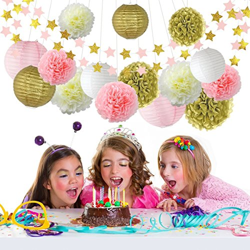 LITAUS Pink and Gold Birthday Party Decorations, Tissue