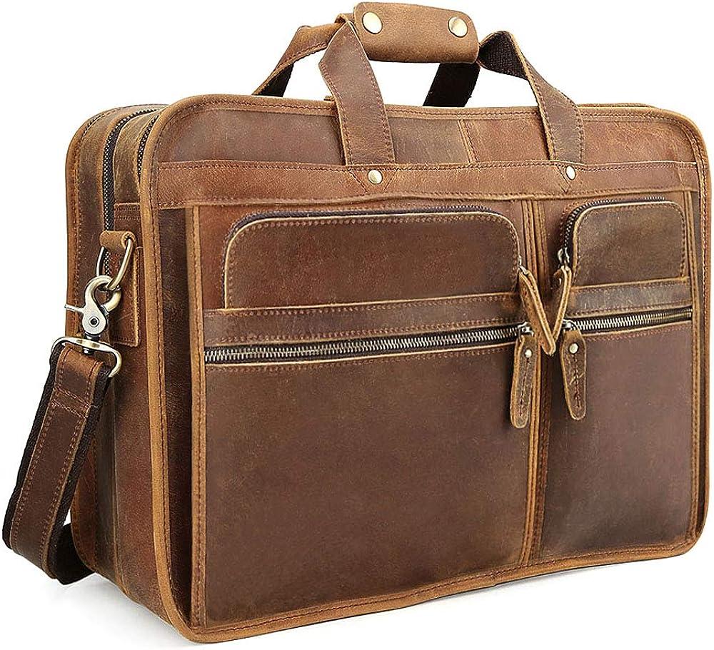 Tiding Men's Leather Briefcase Messenger Bag 17 Inch Laptop Shoulder Bag Attache Case