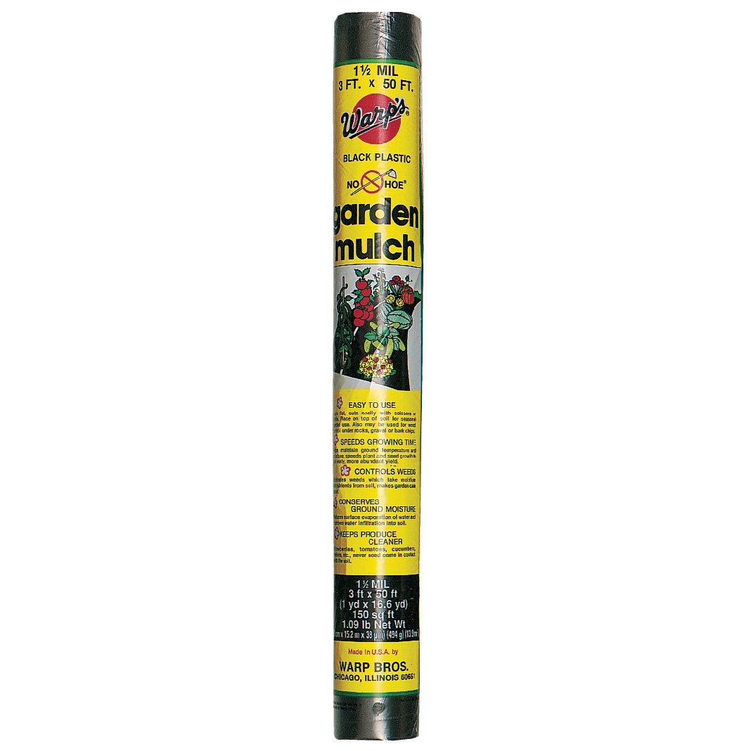 Warps NH 350 3' X 50' Black Plastic No-Hoe Garden Mulch Sheeting