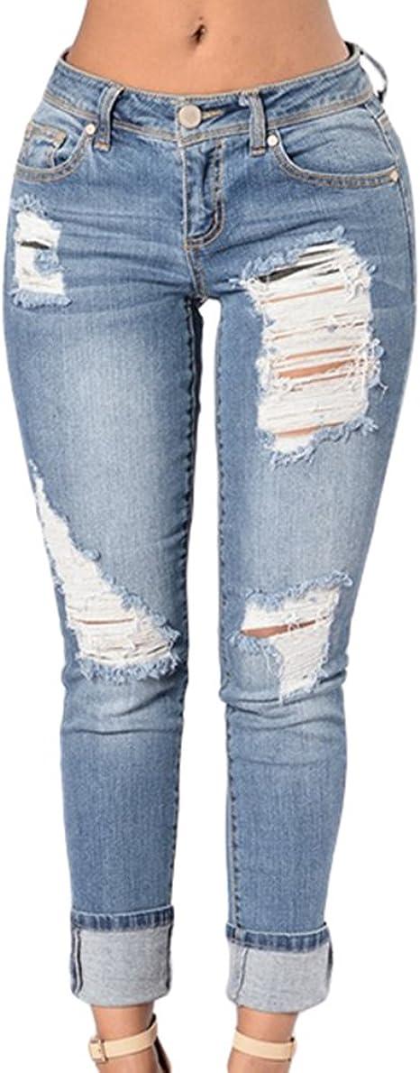 ZKOO Pantalones Jeans Mujer Elástico Flacos Vaqueros Rotos Agujero Jeans Leggins Casuales