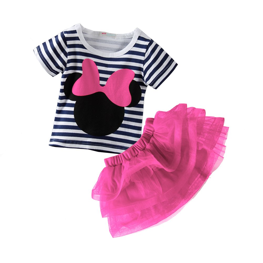 Mud Kingdom Toddler Girls Outfits Cute Tee and Skirt Set Pink 4T by Mud Kingdom (Image #2)