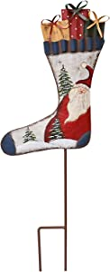 Kilipes Stocking Christmas Garden Stake Hand Painted Stocking Sign with Stake Rustic Metal Yard Stake Christmas Outdoor Holiday Yard Decoration (Whtie)