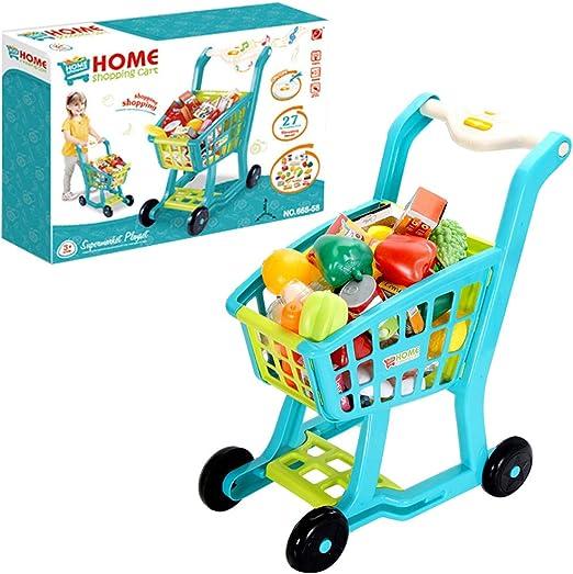 Mini Shopping Mall Cart Trolley Pretend Play Toy for Kids Dark Blue