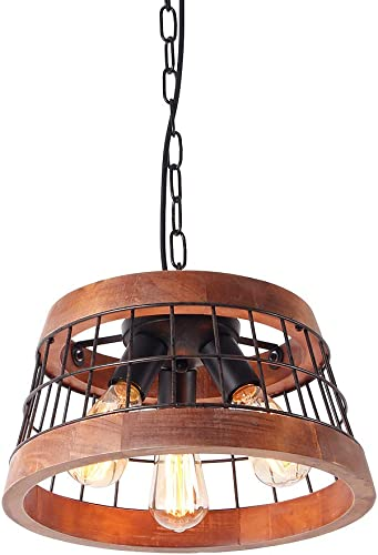 Anmytek Wood and Metal Chandelier Iron Net Frame Rustic Chandelier Lighting Circular Metal Pendant Light Retro Ceiling Light or Edison Vintage Hanging Light Fixture 3-Lights C0042