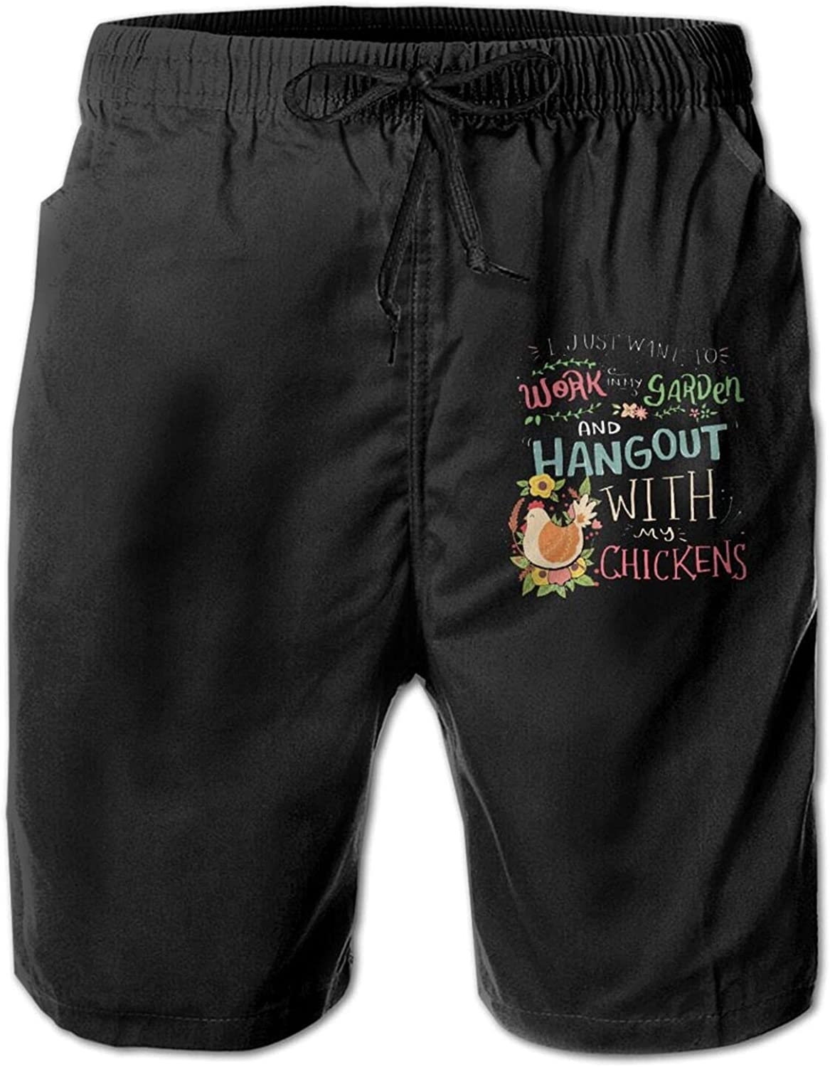 I Just Want to Work in My Garden3 Men's Beach Shorts Sports Pant with Pockets
