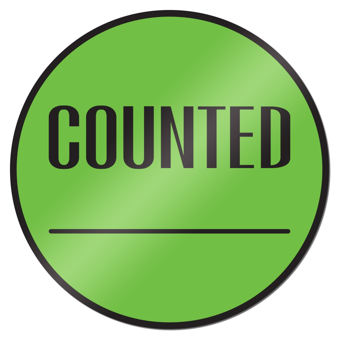 Counted 2 inch Round Inventory Control Labels Stickers Green 10 Rolls
