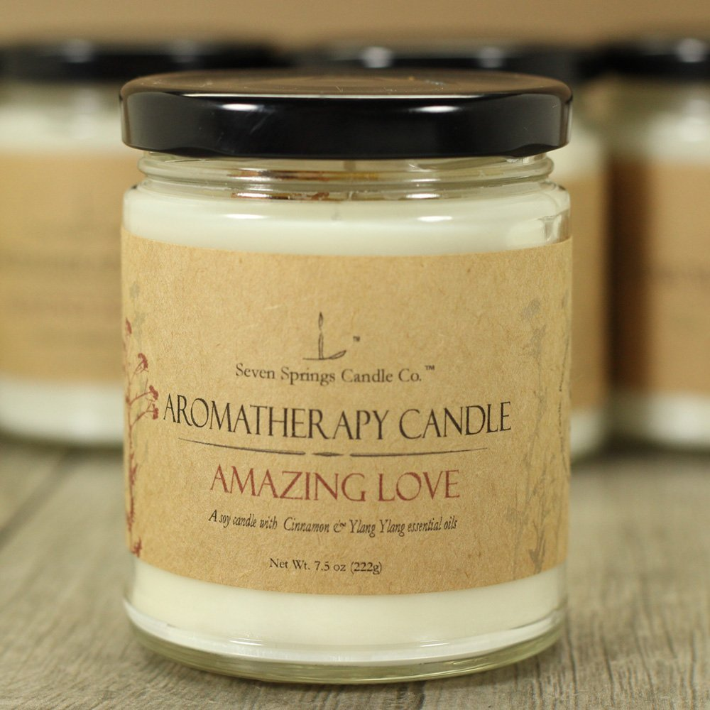Aromatherapy Soy Candle, Amazing Love, Scented with Natural Cinnamon and Ylang Ylang Essential Oils