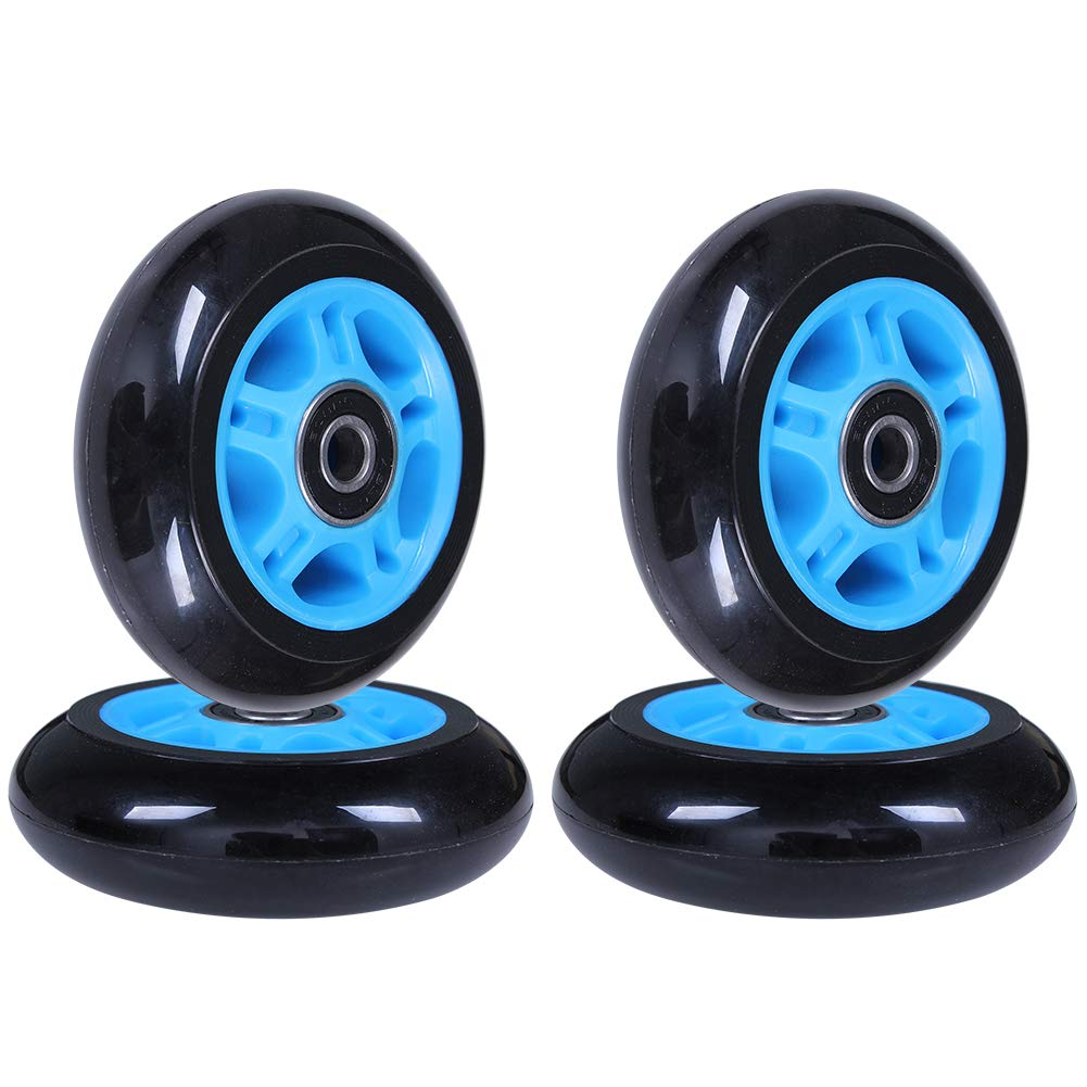 AOWISH Inline Skate Wheels 85A [4-Pack] Beginner Roller Blades Replacement Wheel with Pre-Installed Bearings ABEC-9 [64mm 70mm 72mm 76mm 80mm AVL] (80mm. Blue Hub Black Wheel) by AOWISH