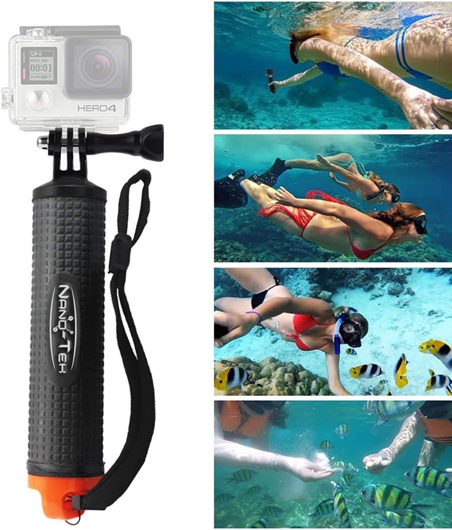 Nano-Tek Waterproof Floating Hand Grip for GoPro Cameras Hero 7 6 5 4 3 3 Floating Hand Grip With Selfie Stick 2 1 Handler//Handle Mount with Accessories for GoPro Floating Grip//gopro Stick Floating