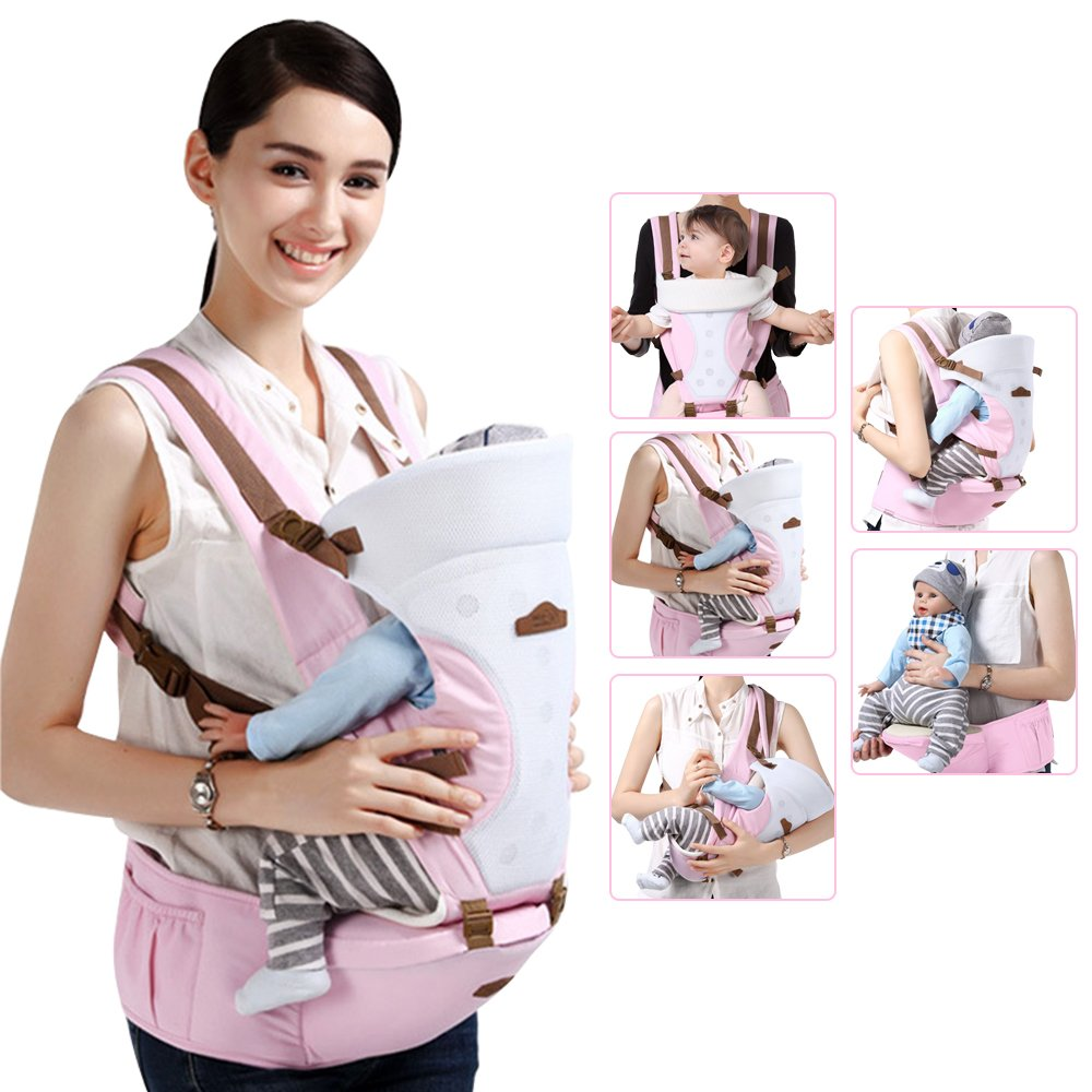 GBlife Porte-bébé Nouvelle Conception Réglable Multifonction 5 Moyens à Porter  avec Siège Coton Respirant de561ac73ec