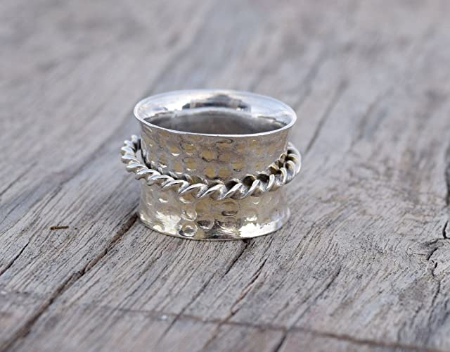 Amazon.com: Spinner Spin Ring, Yoga maditation ring Hammered ...