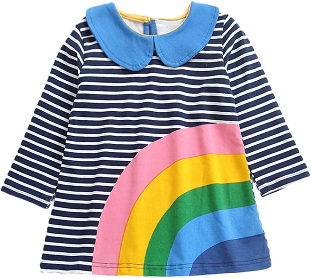 GorNorriss Girls Long Sleeves Rainbow Print Stripe Clothing Tops Princess Dress