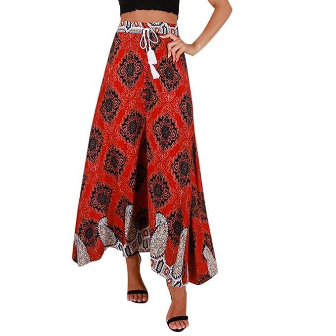 Sylar Faldas Largas Mujer Estampado Vintage Falda Estampada Faldas ...