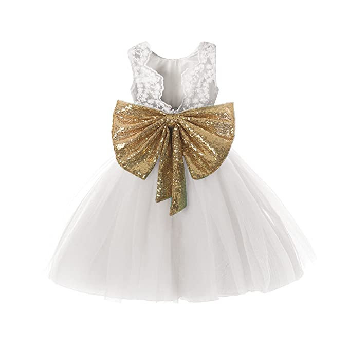 7153ec2c0 Lace Formal Sequins Flower Girl Dress for Girl Party Pageant Dresses  Clothes Clothing Kids Knee Mid