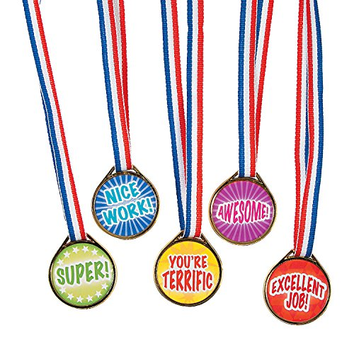 Fun Express - Mega Assorted Award Medals - Stationery - Awards - Medals - 50 Pieces