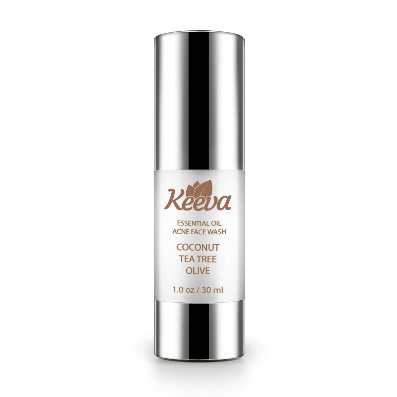 Keeva Organics 5-in-1 Essential Oil Clarifying Acne Face Wash - Organic Tea Tree Oil, Aloe Vera & Essential Oils For a Refreshing Deep Clean - Clears Hormonal & Cystic Acne Scars.