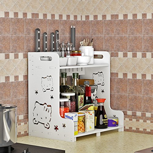 Kitchen Storage Rack, Komost 2-Tier Multi-functional Countertop Organizer Shelf, Kitchen Spice Rack