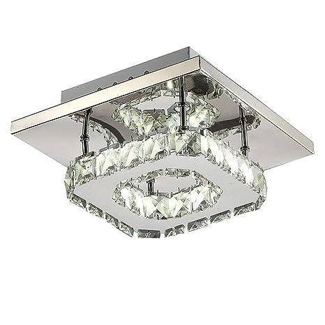 KTOL Cristal LED Lámpara de techo Cuadrado, 12w Minimalismo ...