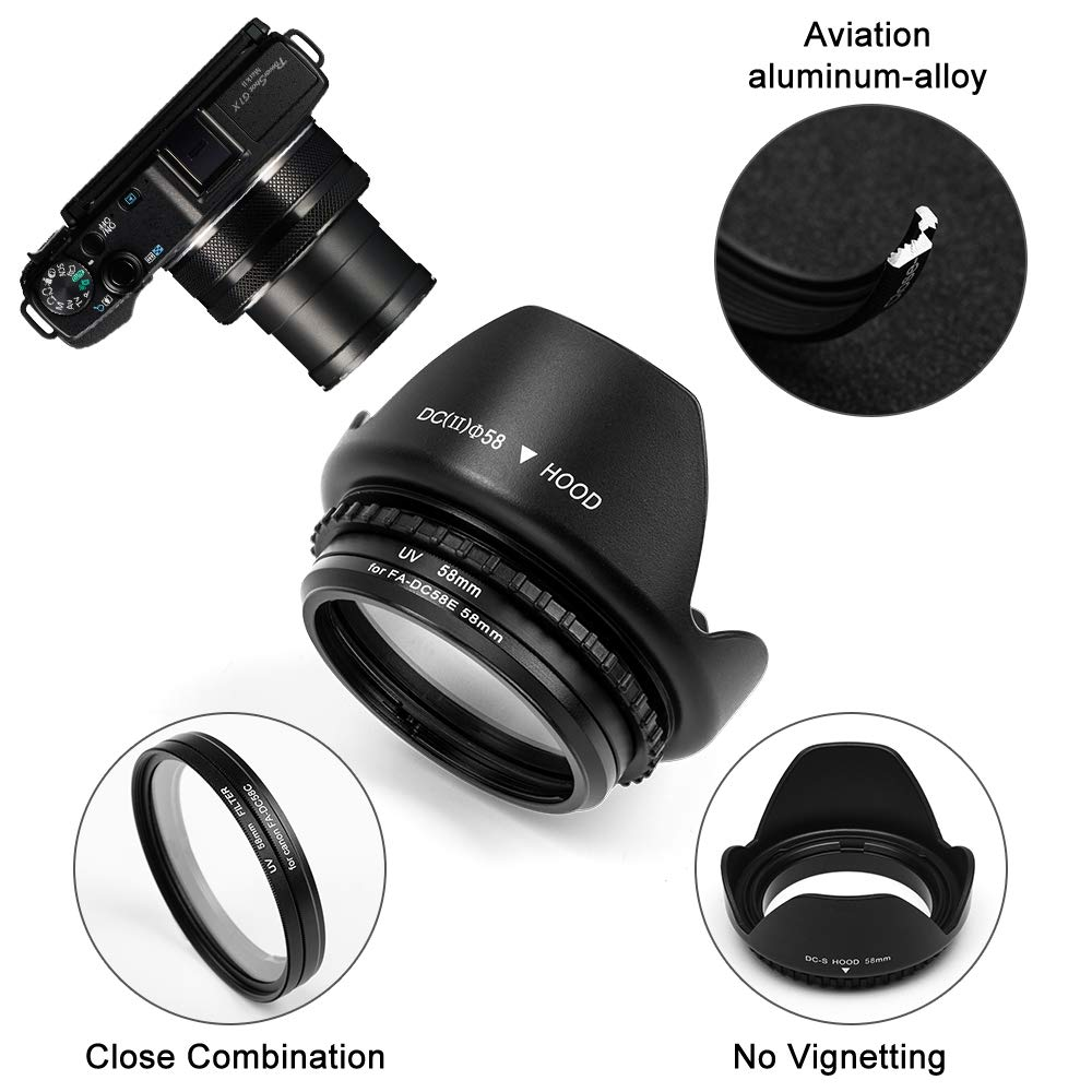 Tulip Flower Lens Hood Fotover 58mm Metal Filter Adapter Ring with UV Filter for Canon PowerShot G1X Mark II Digital Camera replacement Canon FA-DC58E filter adapter