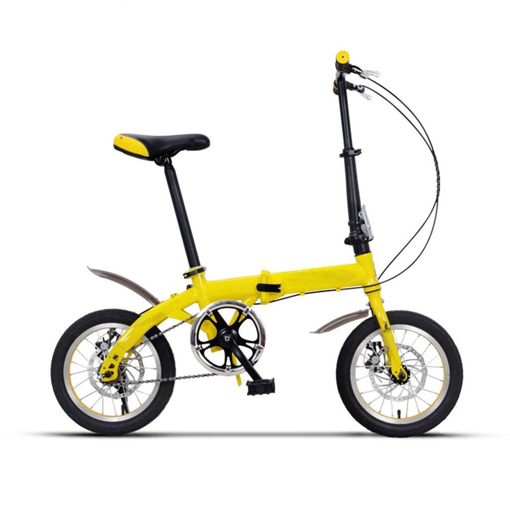 子供用自転車、シングルスピードフォルド子供の生徒用ベビーキャリーベビーボーイ自転車 B07C6GNGDHイエロー いえろ゜