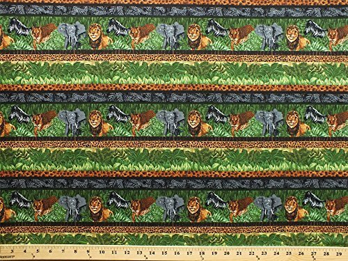 Stripe Repeating - Cotton Safari Animals Lions Elephants Zebras Tigers Leopard Print African Wildlife Plants Green Repeating Stripe (6 Parallel Stripes) Cotton Fabric Print by the yard (fp6492-591-greenstripe)
