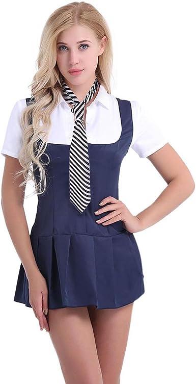 Trendy Women School Girl Fancy Dress Uniform Halloween Party Costume Outfit Suit